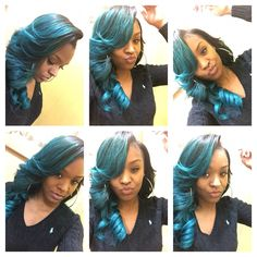 Side part glam swoop/deep swoop Colored Weave Hairstyles, Sew In Hairstyles, Goddess Hairstyles, Creative Hairstyles, Different Hairstyles, Hairdos, Pretty Hairstyles, Bold Hair Color, Hair Colors