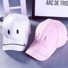 3259a65c3a9b8 Hat Women Hip Hop Baseball Cap Dad Hat Solid Color Smile Face Print Snapback  Cotton Baseball Hat For Men