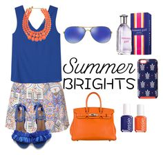 """""""Summer Brights"""" by amiracle1379 ❤ liked on Polyvore featuring Glamorous, MANGO, Hermès, Oakley, Essie, Tommy Hilfiger, Vera Bradley and summerbrights"""