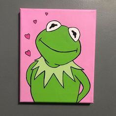 Kermit the Frog Acrylic Canvas Painting - kermit painting - - Kermit the Frog Acrylic Canvas Painting – kermit painting Drawing ✍️ Kermit der Frosch Acryl Leinwand Malerei – Kermit Malerei Small Canvas Paintings, Easy Canvas Art, Small Canvas Art, Mini Canvas Art, Cute Paintings, Simple Acrylic Paintings, Acrylic Painting Canvas, Canvas Ideas, Easy Art