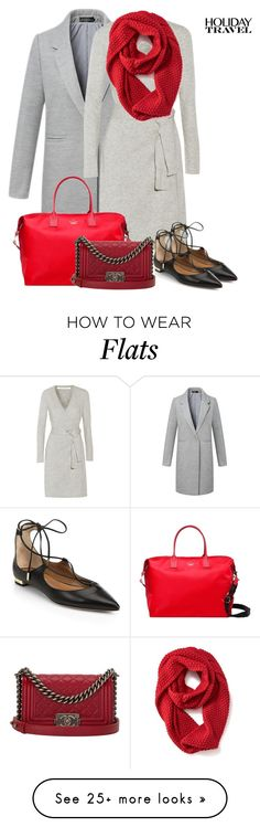 """""""gray and red"""" by jana-zed on Polyvore featuring moda, Diane Von Furstenberg, Aquazzura, Old Navy, Kate Spade e Chanel"""