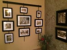 pottery barn picture hanging system - Google Search Barn Pictures, Curved Walls, Hanging Art, Pottery Barn, Gallery Wall, Interior Design, Google Search, Frame, Artwork