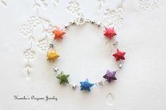 Japanese Origami Jewelry  Rainbow Origami Star by KumikosOrigami