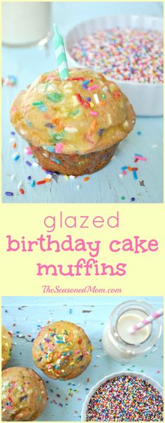 Loaded with rainbow sprinkles and coated with a sweet glaze, these Birthday Cake Muffins are the perfect way to spoil your loved ones on a special day!