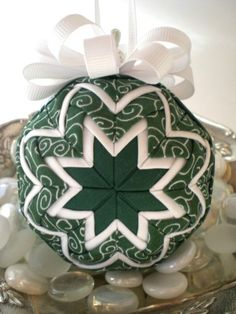 Handmade Quilted Christmas Ornament Green and by NorthernKeepsakes … Quilted Fabric Ornaments, Quilted Christmas Ornaments, Handmade Christmas, Christmas Crafts, Christmas Decorations, Christmas Balls, Christmas Projects, Holiday Crafts, Shabby