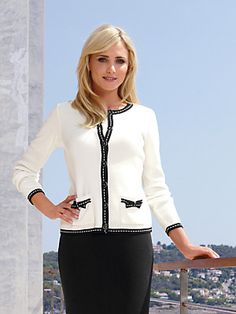 5b5e223dfe7f5 Cardigan from Rössler Selection , ecru black - Order now in the PETER HAHN  Shop.