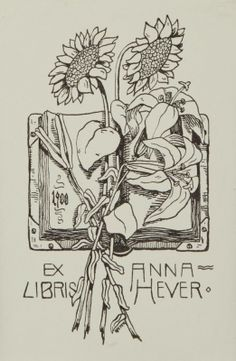 Ex libris by Hans Pieper (Ger)(1851- ) for Anna Heuer, 1900