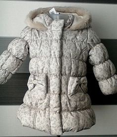 f666159e77b06 Baby Girls Padded Coat with Hood  amp  Bow Detail 9-12 months BNWT