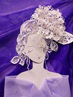 紫陽花の立体切り絵