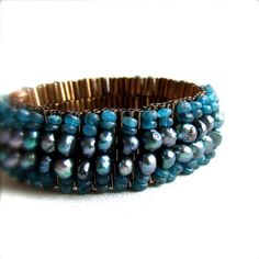 Blue Apatite Teal Pearl Brown Glass Beadwoven Bracelet by balanced, $82.00