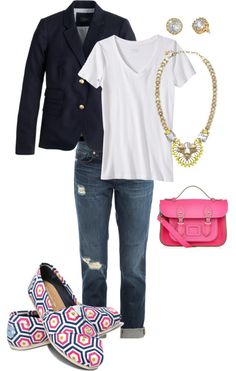 Spring basics with bold accents including Jonathan Adler for TOMS Classics and that amazing PINK leather bag.