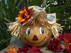 Painted Gourd Scarecrow  Halloween Autumn Home Harvest /Made To Order Only. $32.95, via Etsy.
