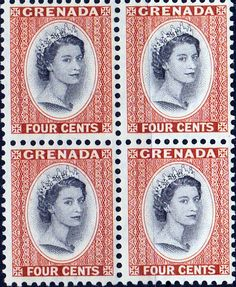 Grenada 1953 Queen Elizabeth Head SG 196 Fine Mint Block of 4 SG 196 Scott 175 Other British Commonwealth Empire and Colonial stamps Here