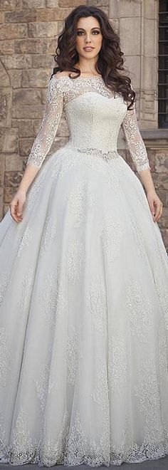 Charming Tulle Off-the-shoulder Neckline Ball Gown Wedding Dress With Beadings & Lace Appliques #weddingdress