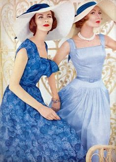 Blue dresses from the 1950s.