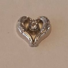 1 - Silver Heart with Rhinestone Center Charm - Floating Heart - Floating Pendant - Floating Locket- emory Locket- Memory Pendant - 8mm Wide by GailsGiftHut on Etsy