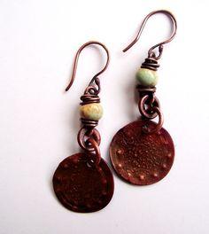 Love My Art Jewelry: Textured Earrings Tutorial Diy Earrings Cuff, Diy Jewelry Necklace, Beaded Earrings, Jewelry Art, Jewelry Ideas, Jewlery, Copper Earrings, Necklaces, Enamel Jewelry