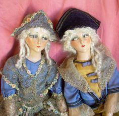 ANCIENNE-POUPEE-DE-SALON-boudoir-doll-art-deco-1930-couple-marquis-marquise