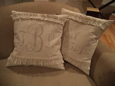 Monogrammed Painters Drop Cloth Pillow Covers. Set of 2... such a cute wedding gift idea!