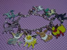 Pokemon Evolution Charm Bracelet Anime Jewelry Gamer by laminartz