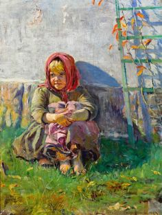 Little Girl in a Garden - Nikolay Bogdanov-Belsky
