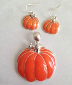 Pumpkin Pendant Large Closed Loop Orange Matching Dangle Earrings Set Jewelry  #DavenportDesigns