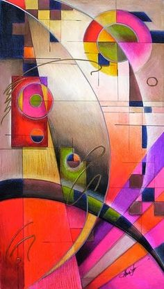 """''Kandinsky Cadence"""" by Alma Lee, color pencils, marker, on MDF panel. This piece is an homage to Wassily Kandinsky the man, his theory & his art. Wassily Kandinsky, First Art, Art And Illustration, Art Illustrations, Henri Matisse, Art Plastique, Love Art, Art Lessons, Art Projects"""