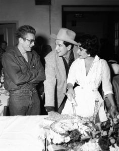 James Dean, Rock Hudson & Elizabeth Taylor at the wrap-party for Giant (1956)