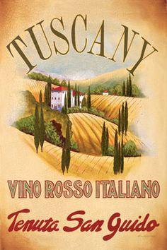 Tuscany by Val Bustamonte art print Vintage Italian Posters, Vintage Travel Posters, Poster Vintage, Tuscany Decor, Tuscany Italy, Tuscan Design, Tuscan Style, Vintage Advertisements, Vintage Ads