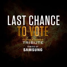 It's your LAST CHANCE to vote in #TheHungerGamesTribute Awards! Let your voice be heard and VOTE at www.Tribute.TheHungerGames.Movie!  Powered by Samsung (@SamsungMobileUSA)