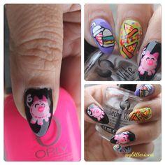 Pig And food Nail art .