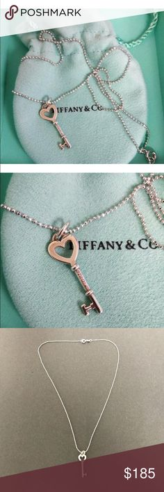 """Tiffany&Co. Silver Heart Key Pendant Necklace Tiffany&Co. Silver Heart Key Pendant Necklace  Brilliant beacons of optimism and hope, Tiffany Keys are radiant symbols of a bright future. Engraved with the iconic inscription, this pendant is timelessly chic.  Sterling silver  1"""" long- pendant  16"""" long-chain Tiffany & Co. Jewelry Necklaces"""