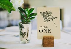 succulent in silver glass + easy wood block with table # Card Table Wedding, Wedding Table Settings, Wedding Table Numbers, Wedding Cards, Wedding In The Woods, Forest Wedding, Dream Wedding, June Wedding Colors, Wedding Stationery