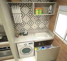 Lavanderia by Divonsir Borges Laundry Room Design, Kitchen Design, Kitchen Ideas, Diy Casa, Small Laundry Rooms, Compact Laundry, Laundry Room Organization, Interior Design Living Room, Diy Home Decor