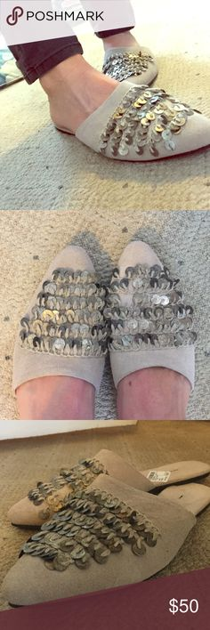 NWT Free People Slides Adorable taupe free people slides with jingly coin detailing. Free People Shoes Mules & Clogs