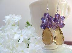 Amethyst Earrings Golden Quartz Earrings Faceted by Inspiredby10