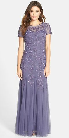 Soft purple beaded gown by Adrianna Papell