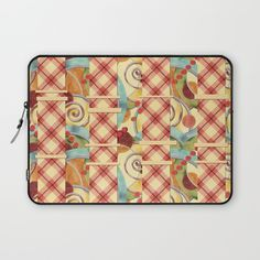 Plaid Europa Textile Design Laptop Sleeves by #PatriciaSheaDesigns