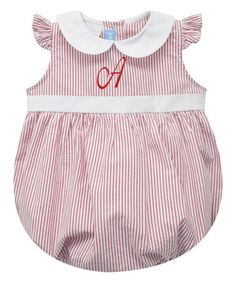This Red Stripe & Bow Initial Bubble Bodysuit - Infant is perfect!