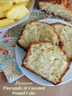 Hawaiian Pineapple & Coconut Pound Cake.  This sounds like sweet summertime!  Yum!  #bread #dessert