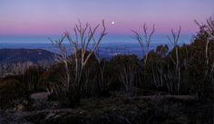 view to Canberra from summit of Mt Coree at sunset.