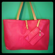 FLASH SALE!! Gorgeous hot pink tote BRAND NEW/never used!! Hot pink and tan colored tote made of PU leather. Small zipper pouch is conveniently attached so you don't lose your change and other small items in the bottom of your bag. Very lightweight and comfortable to carry. Dimensions are approx 10 inch deep and 17 inches wide. Bags Totes