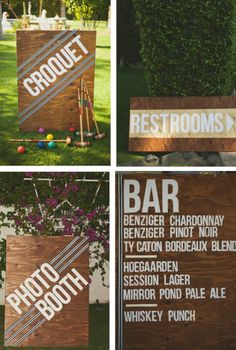 stained plywood signs