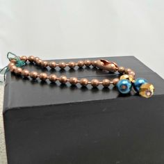 Bracelet bead chain handmade faux pearl teal bronzey by Pat2 sz 7.5 by RememberThis3 on Etsy