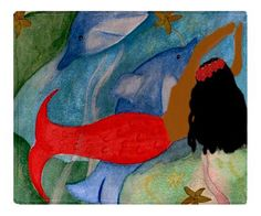 Red Ethnic Mermaid Throw Blanket from my original art by maremade