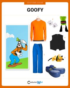 The best costume guide for dressing like Goofy, the clumsy and careless Disney character who is friends to Micky Mouse and Donald Duck. Goofy Costume, Mickey Mouse Halloween Costume, Zombie Couple Costume, Zombie Halloween Costumes, Cool Costumes, Halloween 2020, Halloween Couples, Halloween Stuff, Halloween Ideas