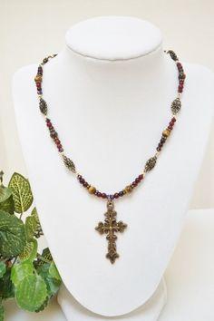 Jewelry Necklace Cross Necklace Antique Gold by BrandyByDesignLtd