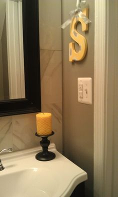 My Black and yellow bathroom on Pinterest   Yellow bathrooms  Yellow