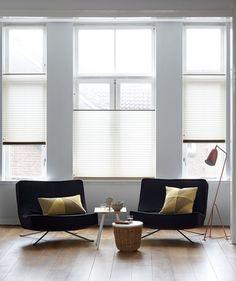 Een stijvol lichtdoorlatend plisségordijn van bece® voor in de woonkamer…