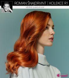 Nádherný ideál zrzavých vlasů – ideální měděná barva v dlouhém účesu s glamour vlnami. (Roman Šnajdrvint, kolekce účesů R1.) Roman, About Hair, Fashion, Hair, Moda, Fashion Styles, Fashion Illustrations